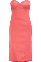 Zac Posen Strapless Satin Twill Dress Coral