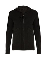Pepper And Mayne Zip Up Cashmere Hooded Sweater Black