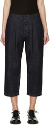 Studio Nicholson Blue Alfini Pleated Denim Trousers