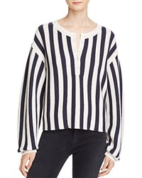 Alexander Wang T By Striped Waffle Knit Henley Pullover Midnight