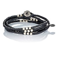 M Cohen M. Men's Knotted Wrap Bracelet Black Blue Black Blue