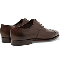 Edward Green Chelsea Cap Toe Burnished Leather Oxford Shoes Dark Brown