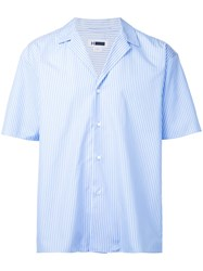 H Beauty And Youth Striped Short Sleeve Shirt Men Cotton L Blue