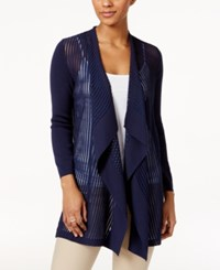 Jm Collection Petite Shadow Striped Draped Cardigan Only At Macy's Intrepid Blue