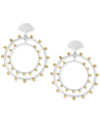 Lucky Brand Two Tone Beaded Drop Hoop Earrings Ttone