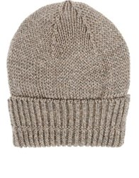 Inis Meain Men's Mixed Knit Baby Alpaca Silk Slouchy Beanie Tan