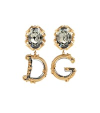 Dolce And Gabbana Crystal Embellished Drop Earrings Gold