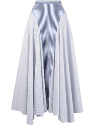 Adam By Adam Lippes Striped Asymmetric Skirt Blue