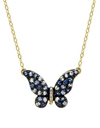 Lord And Taylor Sapphire Diamond 14K Yellow Gold Butterfly Pendant Necklace Blue