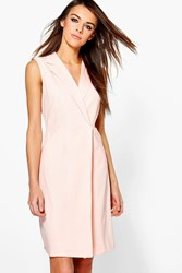 Boohoo Eleanor Sleeveless Collared Dress Nude