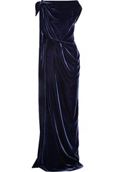 Roland Mouret Silvabella Draped Velvet Gown Midnight Blue