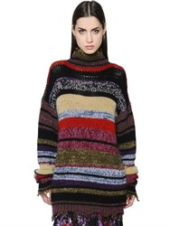 Etro Destroyed Striped Wool Blend Sweater