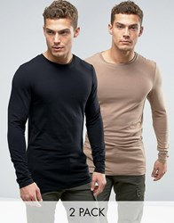 Asos Longline Muscle Long Sleeve T Shirt 2 Pack Multi