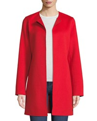 Neiman Marcus Luxury Double Faced Cashmere Topper Red