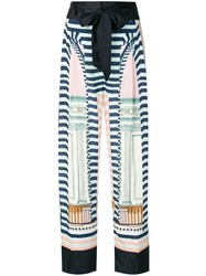 Temperley London Relaxed Patterned Trousers Blue