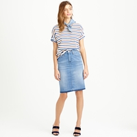 J.Crew Denim Pencil Skirt With Let Out Hem