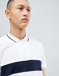 Selected Homme 1 4 Zip Polo Shirt With Block Panel Bright White