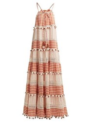 Dodo Bar Or Patricia Tiered Gingham Maxi Dress Tan Multi
