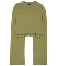 Fenty By Rihanna Cropped Jersey Sweatshirt Green