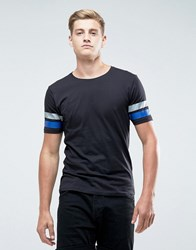 Only And Sons T Shirt With Multi Arm Stripe Black