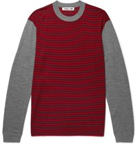 Mcq By Alexander Mcqueen Slim Fit Striped Merino Wool Sweater Red