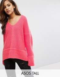 Asos Tall Chunky Jumper In Fluffy Yarn With V Neck Hot Pink