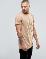 Jack And Jones Core Super Longline T Shirt With Asymetric Hem Lace Up Detail Tigers Eye Beige