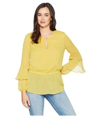 Ellen Tracy Keyhole Front Blouson Blouse Citrine Yellow