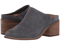 Toms Leila Mule Forged Iron Grey Suede Clog Shoes Gray