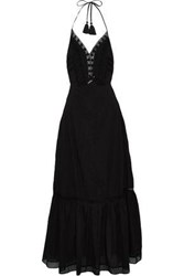 Love Sam Embroidered Pleated Cotton Gauze Maxi Dress Black