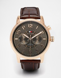 Tommy Hilfiger Calan Leather Strap Watch 1791084 Brown