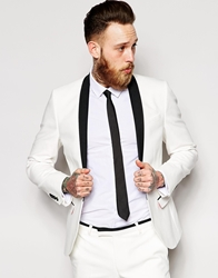 Noose And Monkey Tuxedo Suit Jacket In Skinny Fit White