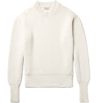 Connolly Ribbed Cashmere And Silk Blend Sweater Off White
