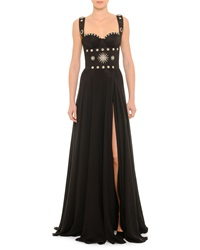 Fausto Puglisi Geometric Hardware Detailed Bustier Gown