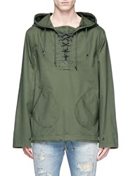 Alpha Industries Lace Up Collar Cotton Anorak Green
