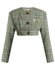 Natasha Zinko Collarless Cropped Wool Blend Tweed Jacket Green Multi
