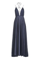 Topshop Tulle Laceup Maxi Dress Charcoal