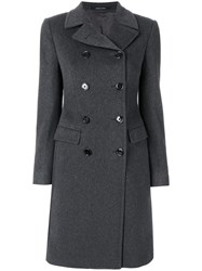 Tagliatore Double Breasted Coat Women Cupro Cashmere Virgin Wool 38 Grey