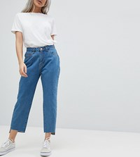 Noisy May Petite Straight Leg Jean Mid Wash Blue