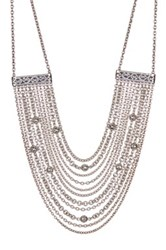 Lois Hill Sterling Silver Multi Mixed Chain Bib Necklace No Color