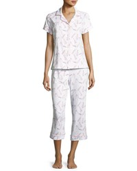 Bedhead Printed Short Sleeve Cropped Pajama Set White