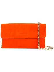 Casadei Logo Embossed Clutch Women Chamois Leather Satin One Size Yellow Orange