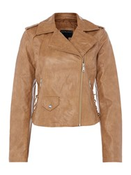 Bernardo Motor Jacket With Lace Up Panel Tan
