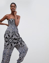 Free People Thinking Of You Printed Jumpsuit Black Combo