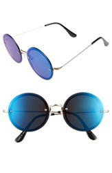 A. J. Morgan Women's A.J. 56Mm Rimless Round Sunglasses Gold Blue Mirror Gold Blue Mirror