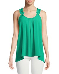 London Times Ruffle Shoulder Georgette Swing Tank Green