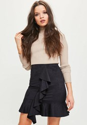Missguided Black Faux Suede Frill Front Mini Skirt