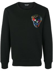 Alexander Mcqueen Embroidered Skull Sweatshirt Black