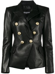 Balmain Double Breasted Leather Blazer Cotton Lamb Skin Viscose Black