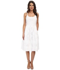 Adrianna Papell Eyelet Spaghetti Strap Sundress White Women's Dress